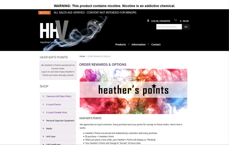 HHV Heather's Points page